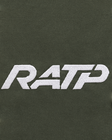 Zoom logo sac à dos kaki logo RATP 1976 polyestere tissu imperméable