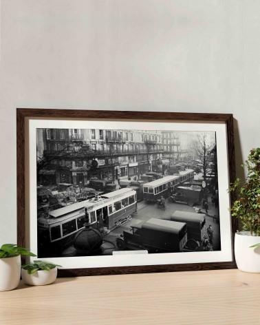 Photo encadré tramways circulant RATP - quartier des Halles