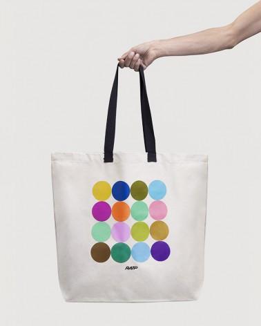 Sac shopping XXL couleurs des lignes métro RATP coton écru