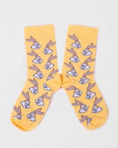 Présentation de la paire de chaussettes jaunes Serge le lapin RATP la ligne x Label Chaussette