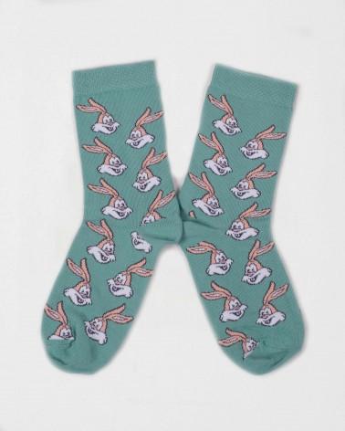 Présentation de la paire de chaussettes vertes Serge le lapin RATP la ligne x Label Chaussette