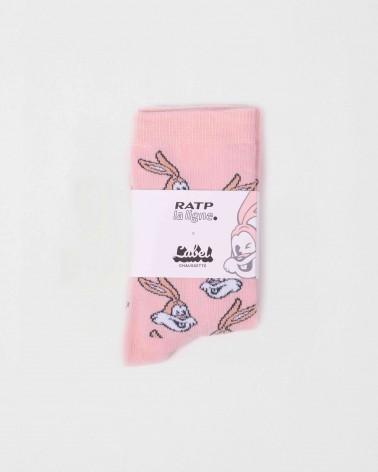 Chaussettes pliées roses Serge le lapin RATP la ligne x Label Chaussette