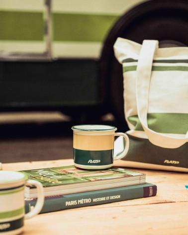 Mini mug livrée historique bus RATP vert et beige - RATP la ligne - 150 ml - céramique - photo zoom posé sur un livre