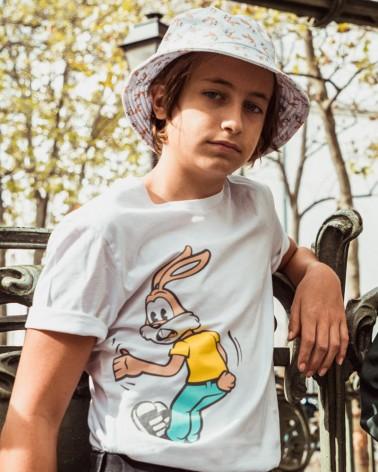 T-shirt enfant blanc imprimé Serge le lapin - RATP la ligne - 100% coton jersey - photo duo porté - en situation