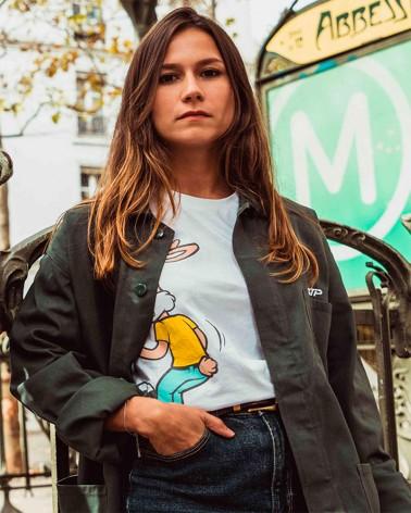 T-shirt unisexe blanc imprimé Serge le lapin - RATP la ligne - 100% coton jersey - photo duo portés sur mannequins