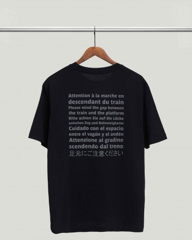 Black T-shirt Mind the gap RATP La ligne recto
