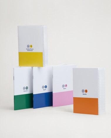 Set de 5 mini carnets lignes de métro RATP format A6
