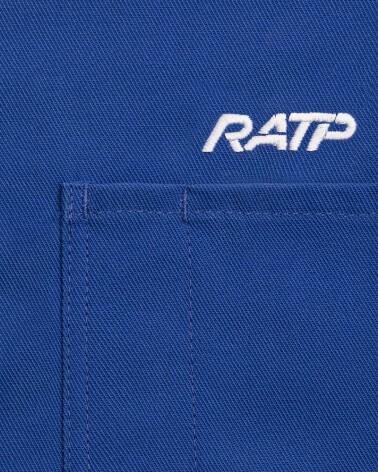 Zoom logo veste vintage bleue logo RATP 1976 brodé