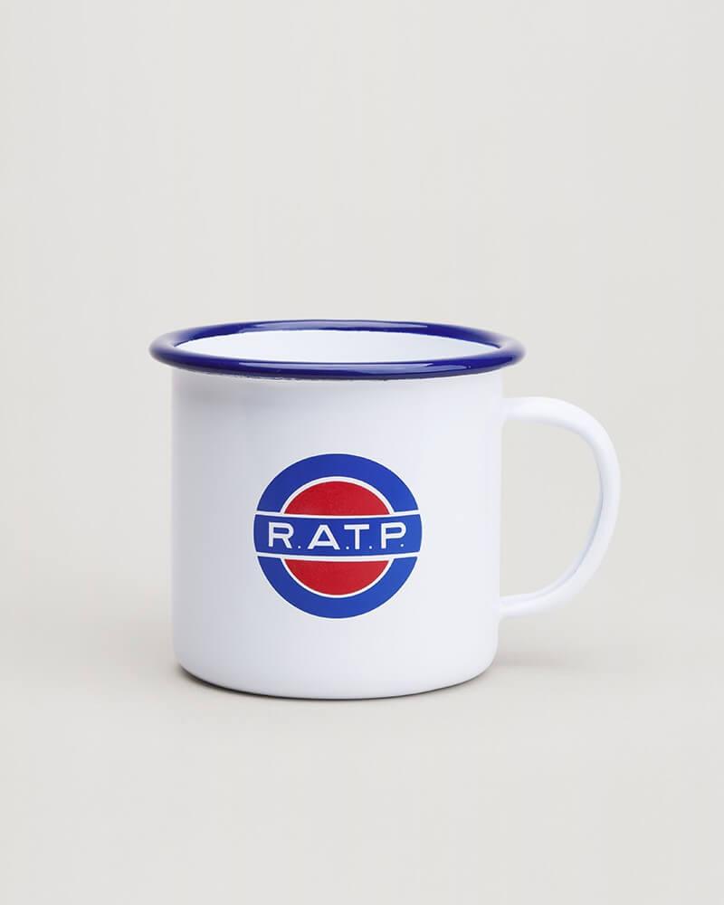Mug émail logo RATP 1960 métal